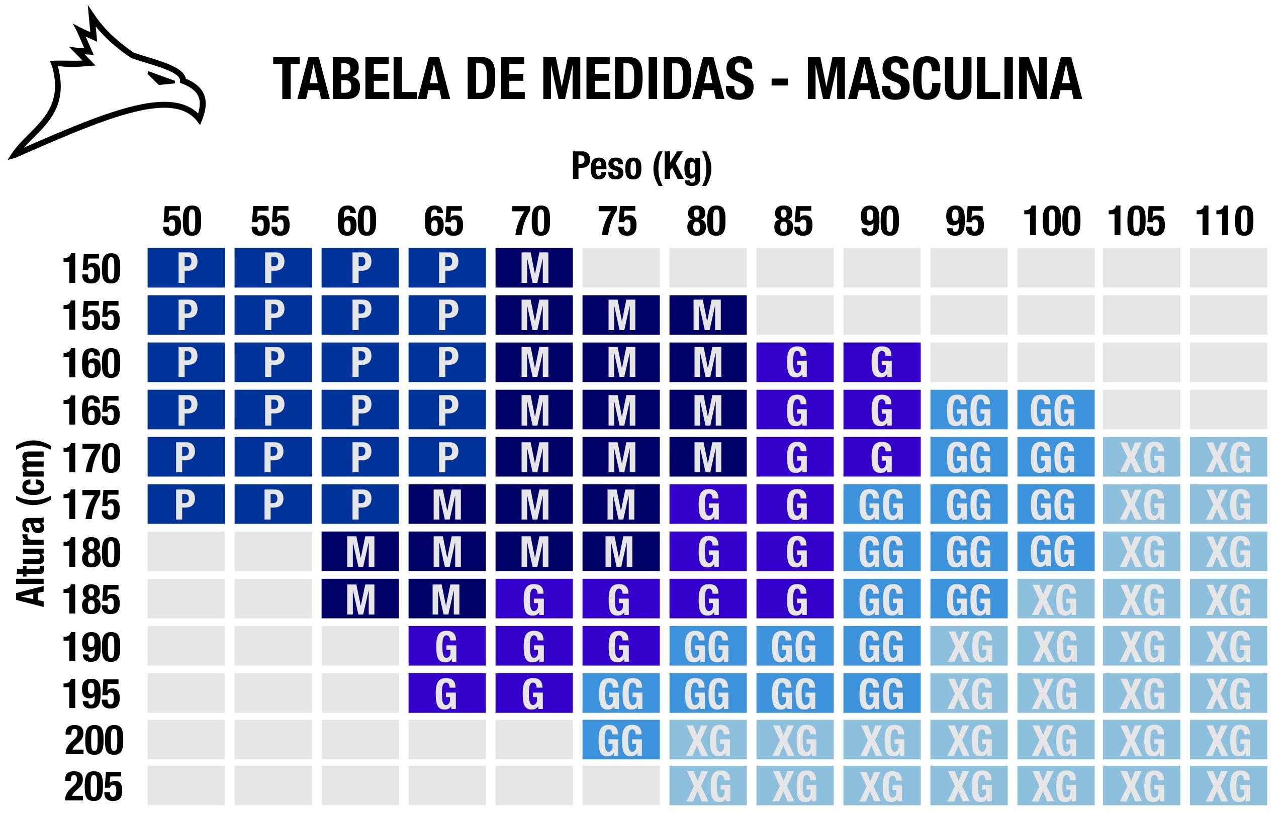 Tabela de Medidas • Conquista Montanhismo